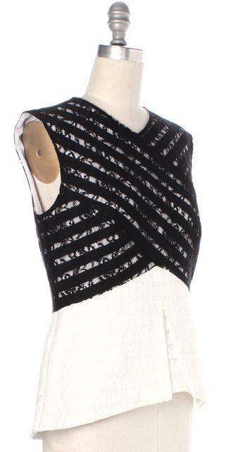 BCBGMAXAZRIA Black Ivory Color-block Vicki Lace Blouse Top