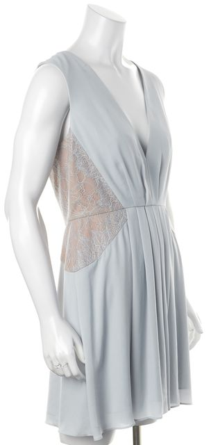 BCBGMAXAZRIA Baby Blue Beige Lace Rania Pleated Empire Waist Dress