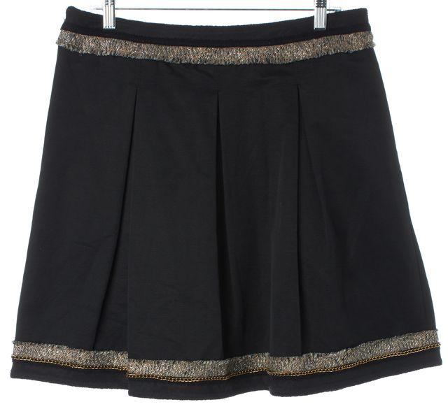 BCBGMAXAZRIA Black Kailin The Pleated A-Line Tweed Trim Skirt