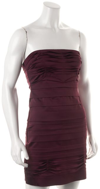 BCBGMAXAZRIA Purple Satin Tiered Strapless Bodycon Sheath Dress