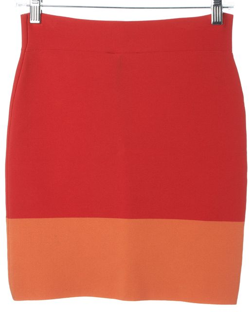 BCBGMAXAZRIA Redberry Orange Colorblock Joelle Pencil Skirt