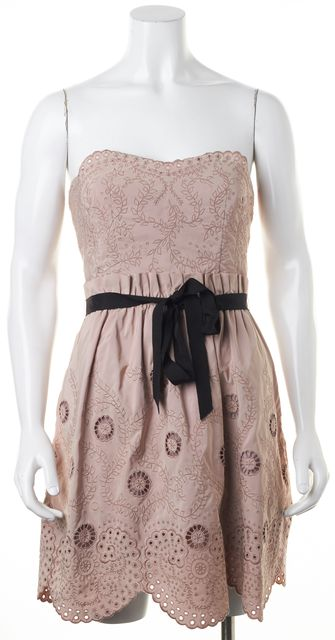 BCBGMAXAZRIA Mauve Pink Floral Embroidered Eyelet Strapless Sheath Dress