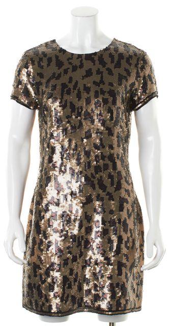 BCBGMAXAZRIA Gold Brown Black Silk Cheetah Sequin Combo Sheath Dress