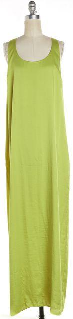 BCBGMAXAZRIA Green Lemongrass Satin Sleeveless Racerback Sara Maxi Dress