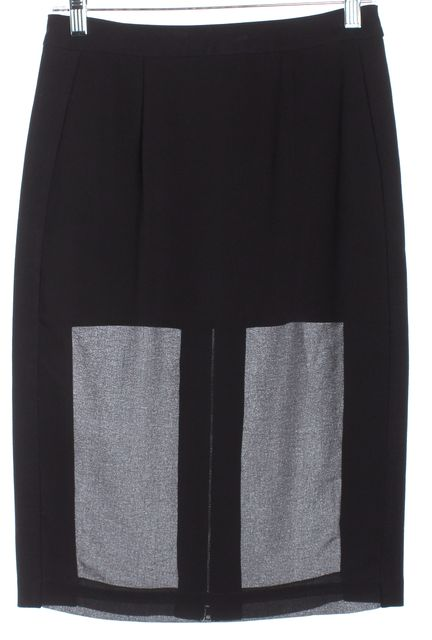 BCBGMAXAZRIA Black Chrome Zip Semi Sheer Francesca Pencil Skirt