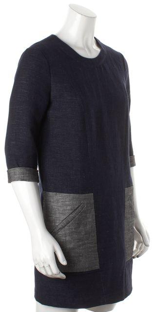 BCBGMAXAZRIA Dark Midnight Blue Denim Lexia Pocket Front Shift Dress