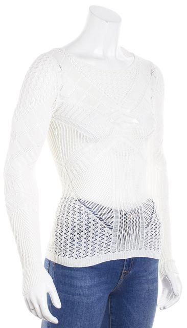BCBGMAXAZRIA Gardenia Ivory Sheer Knit Top Blouse