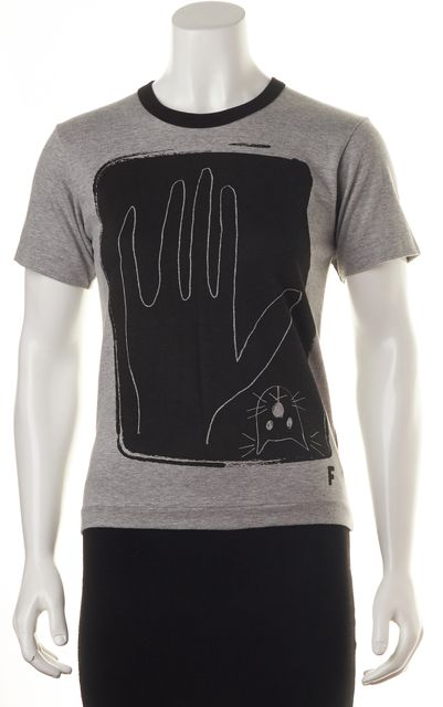 BLACK COMME DES GARCONS Gray Black Graphic Print Short Sleeve Tee T-Shirt