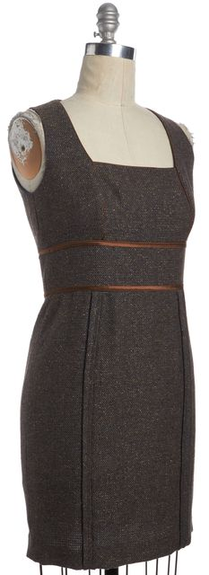 BADGLEY MISCHKA Brown Tweed Wool Sheath Dress