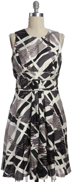 BADGLEY MISCHKA Purple White Abstract Print Silk Belted Fit & Flare Dress
