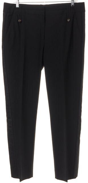 BADGLEY MISCHKA Black Wool Shimmer Tuxedo Stripe Ribbon Trim Trousers