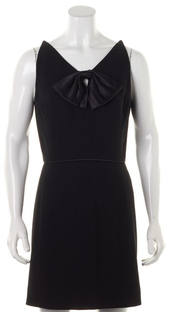 BADGLEY MISCHKA Black Sleeveless V-Neck Above Knee Sheath Dress