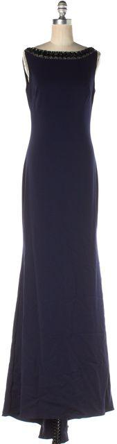 BADGLEY MISCHKA Navy Blue Embellished Ball Gown Dress