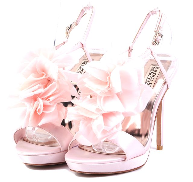 BADGLEY MISCHKA Adele Petal Pink Satin Floral Detail Slip-on Heels
