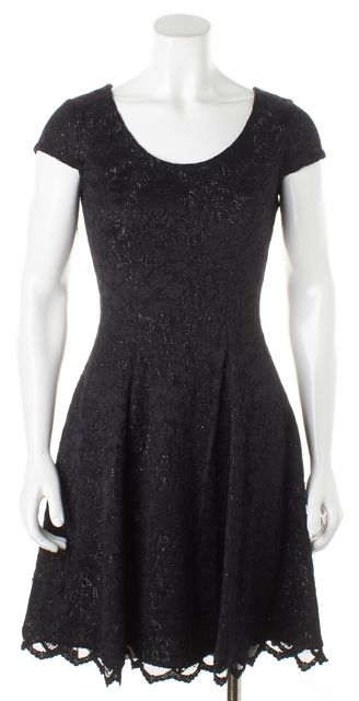 BADGLEY MISCHKA Black Silver Lace Fit & Flare Above the Knee Dress