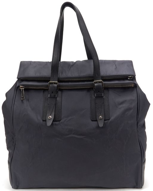 BELSTAFF Navy Nylon Black Leather Large Travel Tote Bag