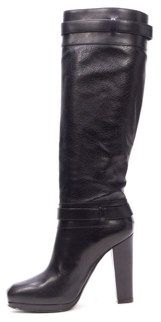 BELSTAFF Black Leather Zip Up Knee High Boots