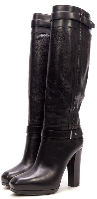 BELSTAFF Black Leather Zip Up Knee High Boots