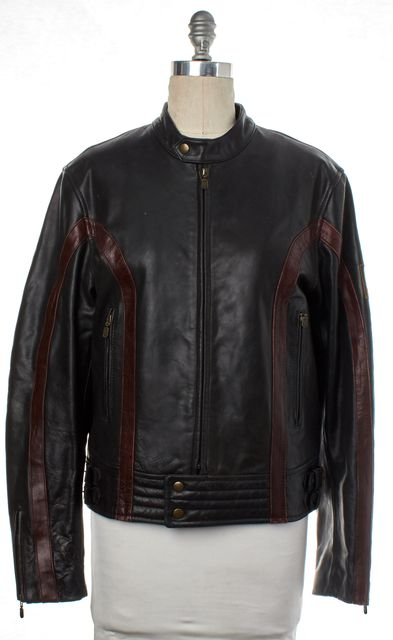 BELSTAFF Black Red Leather Motorcycle Jacket