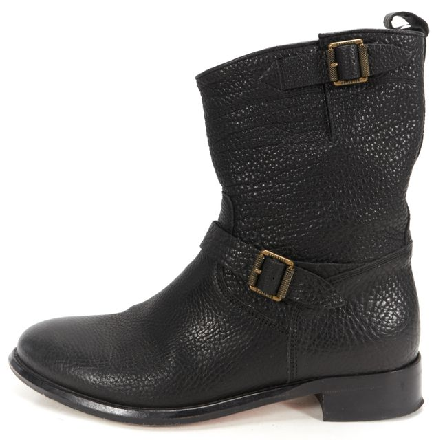BELSTAFF Black Pebbled Grain Casual Buckle Side Leather Moto Ankle Boots