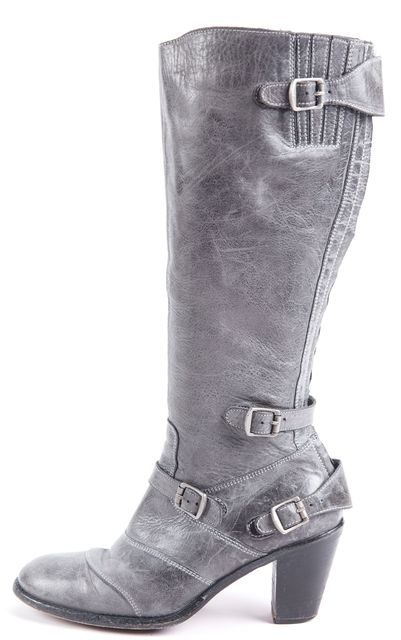 BELSTAFF Blue-ish Gray Leather Trailmaster Buckle Heel Tall Boots