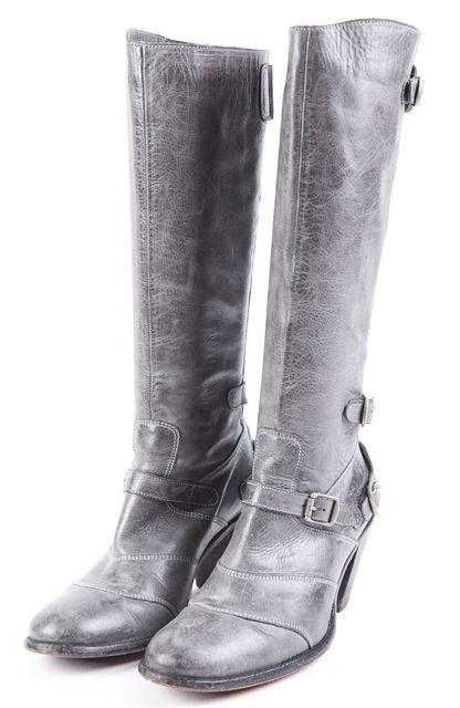 BELSTAFF Blue-ish Gray Leather Trailmaster Buckle Heel Tall Boots