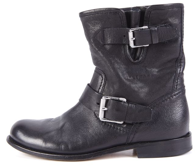 BELSTAFF BLACK LEATHER BIKER BOOTS 37.5