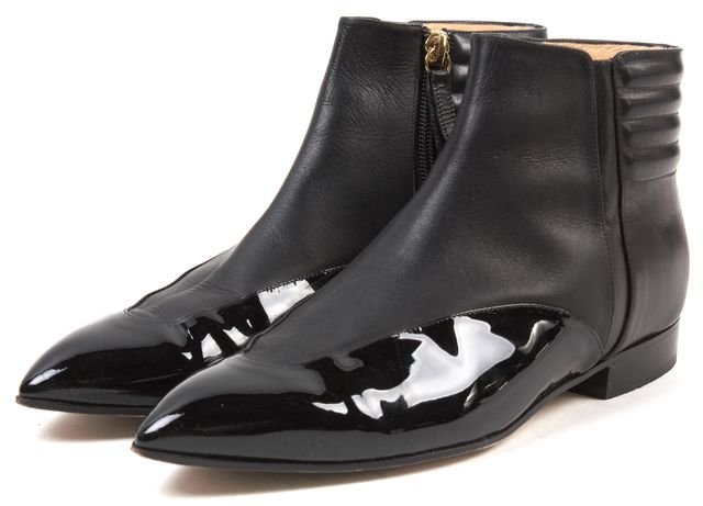 BIONDA CASTANA Black Patent Leather China Pointed Toe Ankle Boots