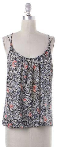 BALENCIAGA White Black Blue Floral Silk Strappy Cami Top Size 6 FR 38