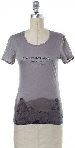 BALENCIAGA Gray Graphic T-Shirt Top Size 4 FR 36