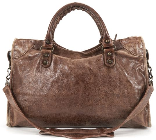 BALENCIAGA Authentic Brown Leather Classic 12 Hardware The City Satchel