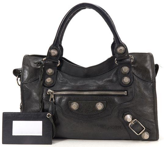 BALENCIAGA Authentic Black Leather Giant 21 City Satchel Handbag