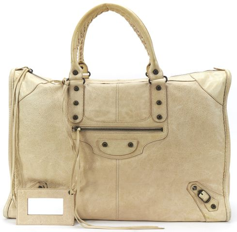 BALENCIAGA Authentic Beige Leather Classic Weekender Travel Bag