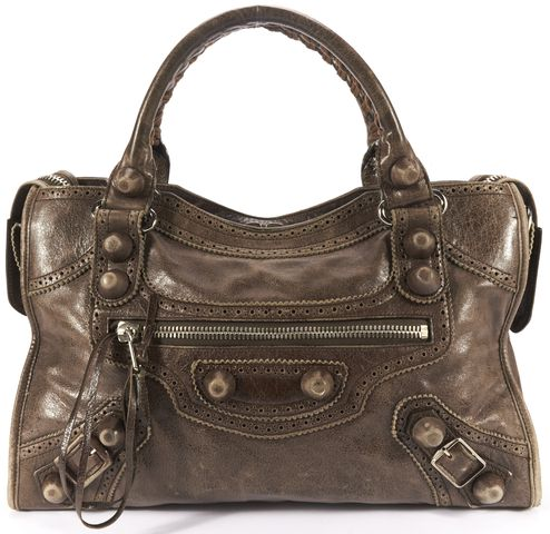 BALENCIAGA Authentic Brown Leather Covered Giant 21 Hardware City Satchel Bag