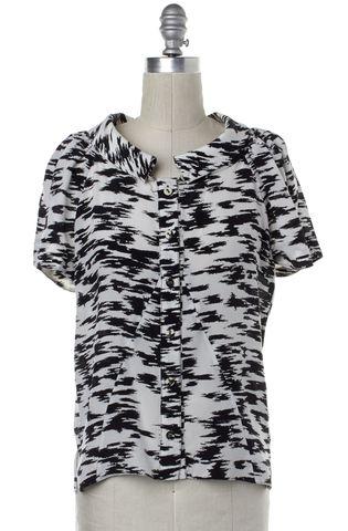 BALENCIAGA Black White Abstract Silk Button Up Blouse Size 8 FR 40