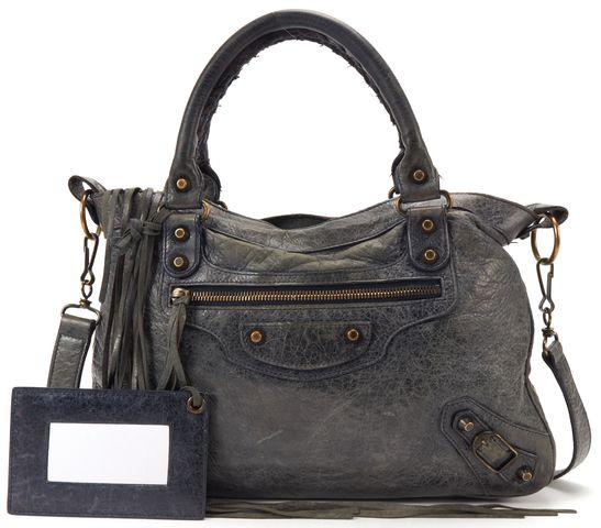 BALENCIAGA Gray Leather Classic Town Satchel Handbag