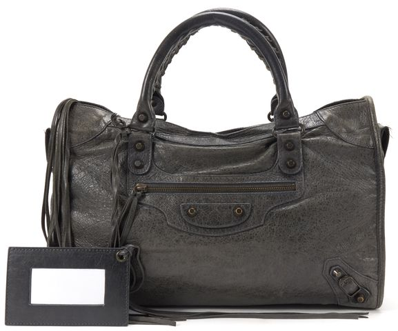 BALENCIAGA Authentic Gray Leather Classic City Satchel Handbag