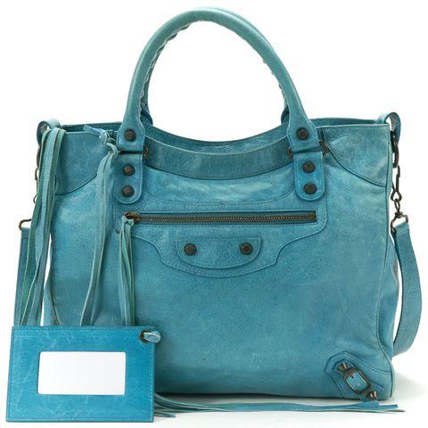 BALENCIAGA Authentic Blue Leather Classic Velo Satchel Bag