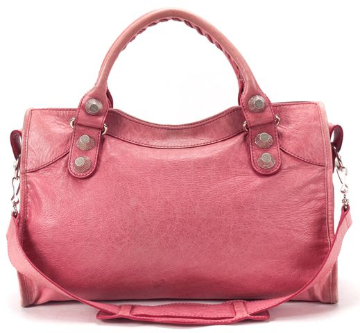 BALENCIAGA Authentic Pink Leather Giant 21 City Satchel Handbag