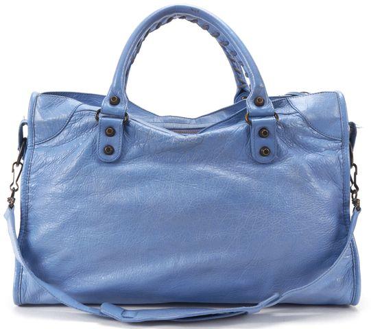 BALENCIAGA Authentic Blue Leather Classic City Satchel Handbag