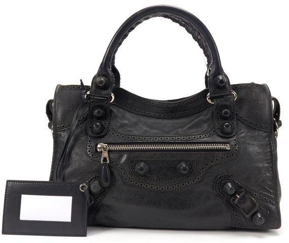 BALENCIAGA Black Leather Giant Brogues Covered City Satchel Handbag