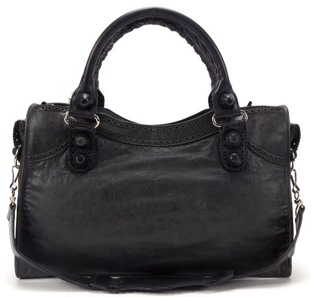 BALENCIAGA Black Leather Giant Brogues Covered City Satchel Handbag