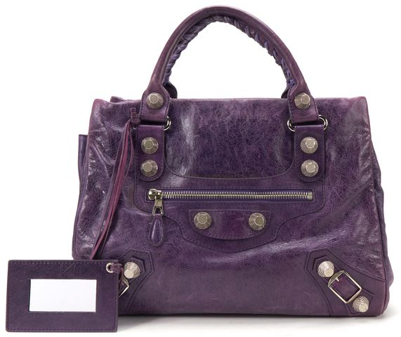 BALENCIAGA Authentic Purple Leather Giant 21 Midday Tote Handbag