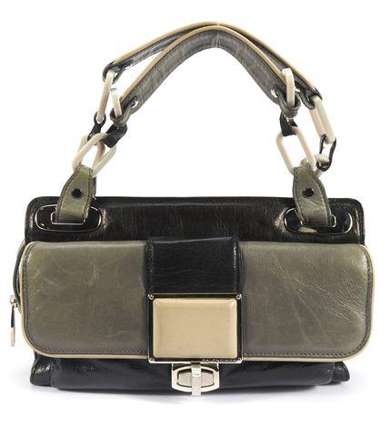 BALENCIAGA Authentic Black Gray Leather Cherche Midi Shoulder Bag