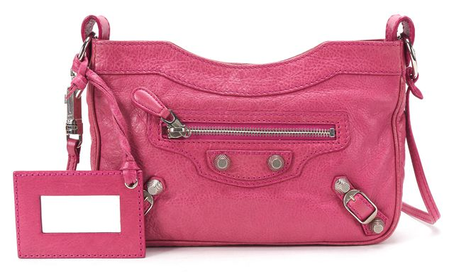 BALENCIAGA Authentic Pink Leather Giant 12 Hip Crossbody Handbag