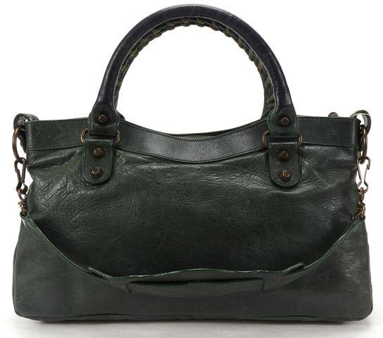 BALENCIAGA Authentic Green Leather Classic First Satchel Handbag