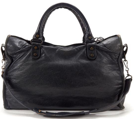BALENCIAGA Authentic Black Leather Classic City Satchel Handbag