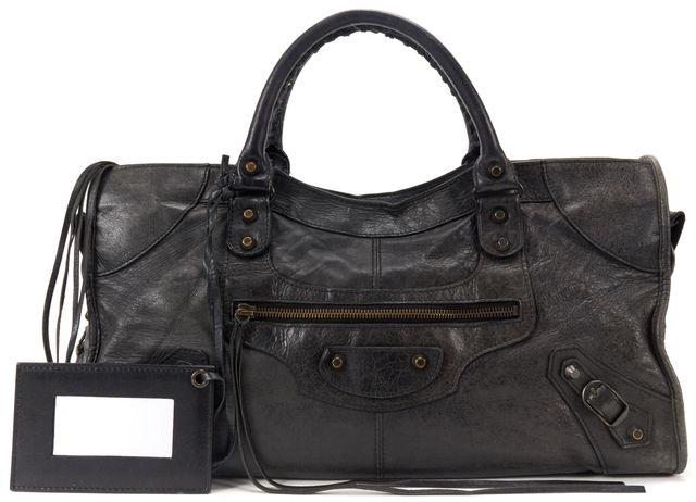 BALENCIAGA Authentic Black Leather Classic Part Time Satchel Handbag