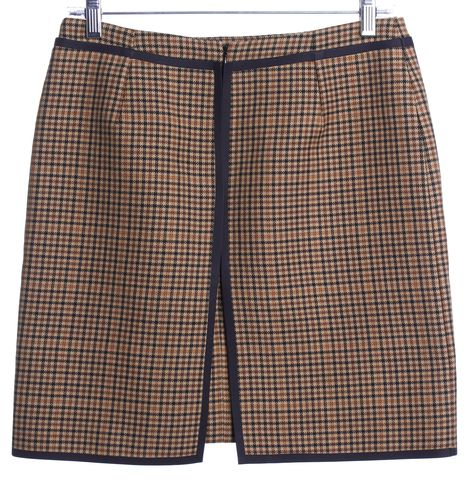 BALENCIAGA Light Brown Check Wool Straight Skirt Size M