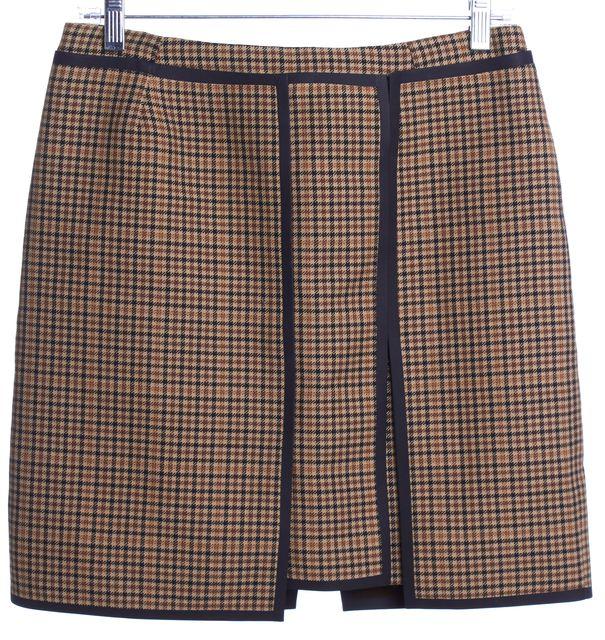 BALENCIAGA Light Brown Check Wool Straight Skirt